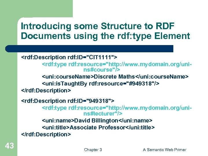 Introducing some Structure to RDF Documents using the rdf: type Element <rdf: Description rdf: