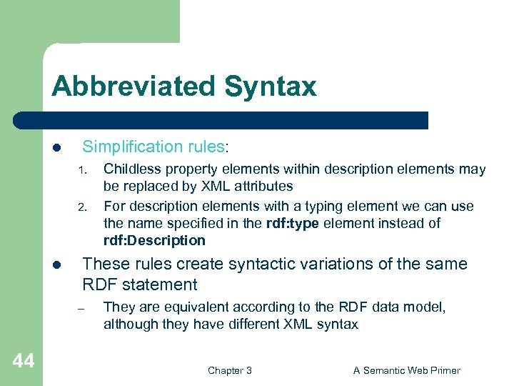Abbreviated Syntax l Simplification rules: 1. 2. l These rules create syntactic variations of