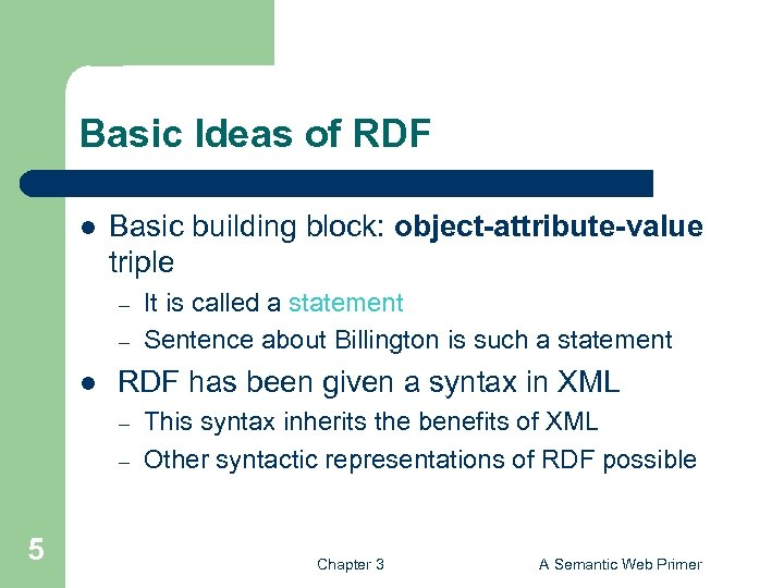 Basic Ideas of RDF l Basic building block: object-attribute-value triple – – l RDF
