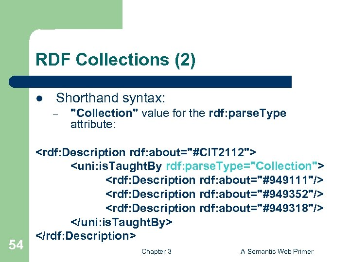 RDF Collections (2) l Shorthand syntax: – 54