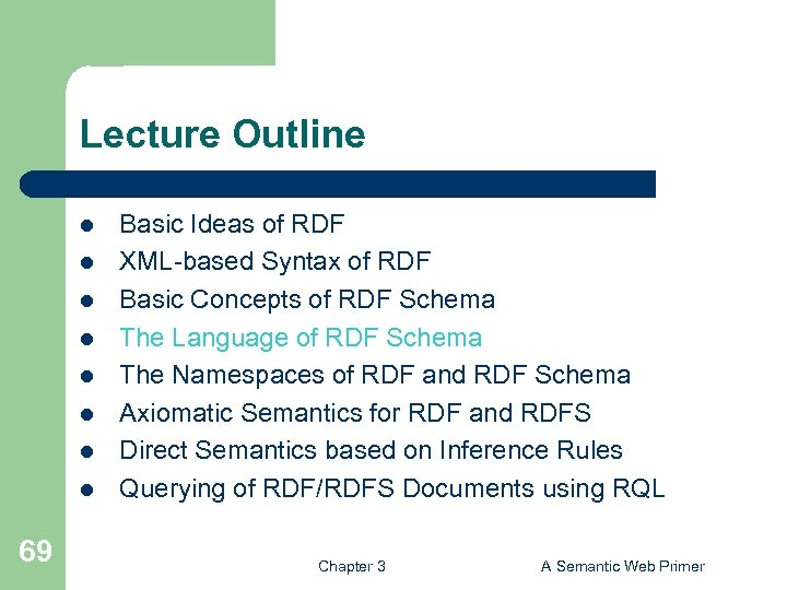 Lecture Outline l l l l 69 Basic Ideas of RDF XML-based Syntax of