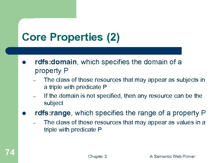 Core Properties (2) l rdfs: domain, which specifies the domain of a property P