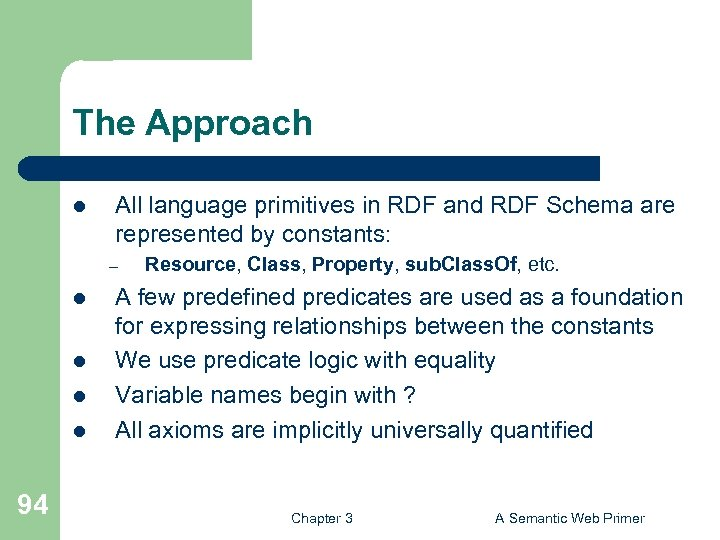 The Approach l All language primitives in RDF and RDF Schema are represented by