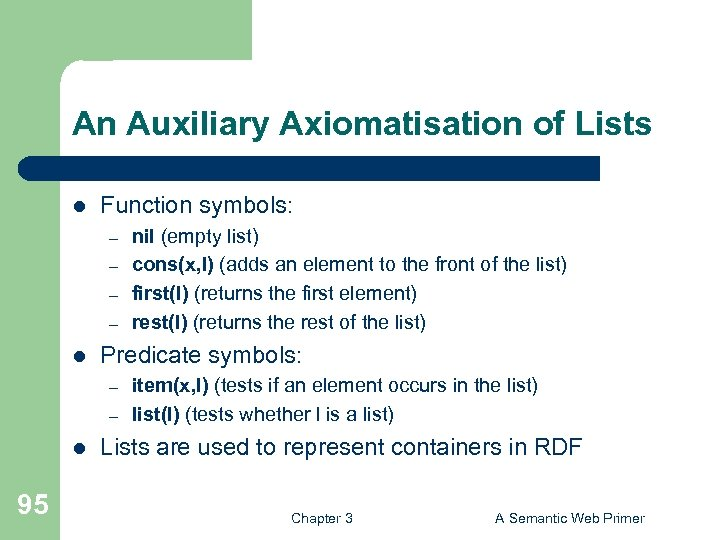 An Auxiliary Axiomatisation of Lists l Function symbols: – – l Predicate symbols: –