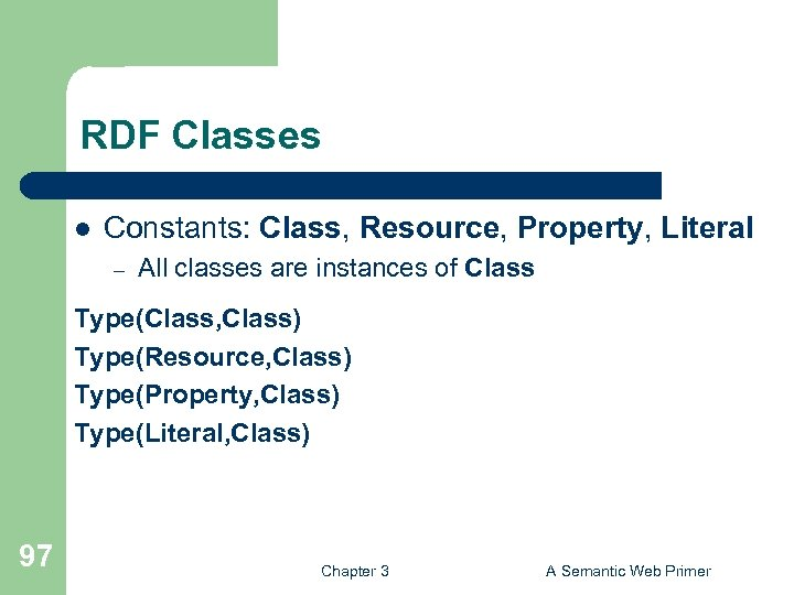 RDF Classes l Constants: Class, Resource, Property, Literal – All classes are instances of