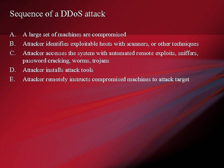Sequence of a DDo. S attack A. B. C. D. E. A large set