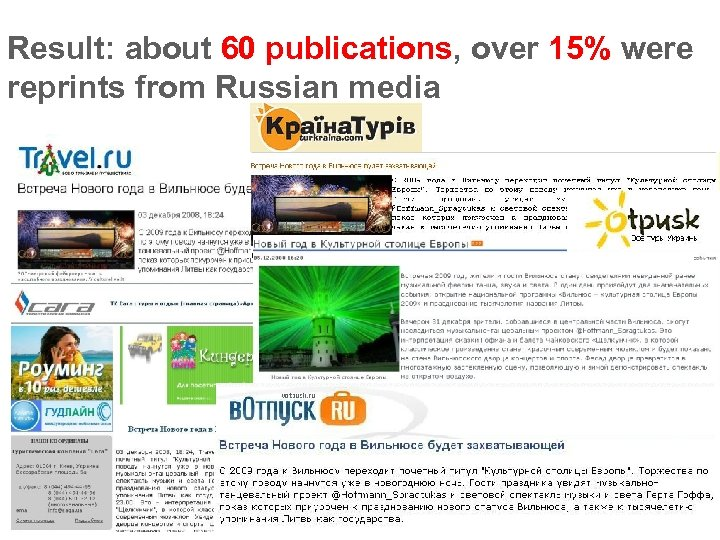 Result: about 60 publications, over 15% were reprints from Russian media