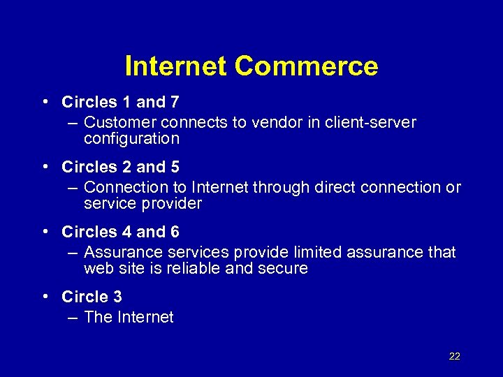 Internet Commerce • Circles 1 and 7 – Customer connects to vendor in client-server