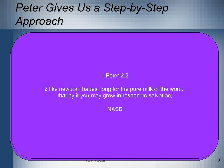 Peter Gives Us a Step-by-Step Approach • 2 Peter 1: 5 -11 5 –