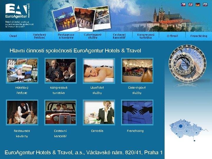 Hlavní činnosti společnosti Euro. Agentur Hotels & Travel Hotelový Kongresová Lázeňské Cateringové řetězec turistika