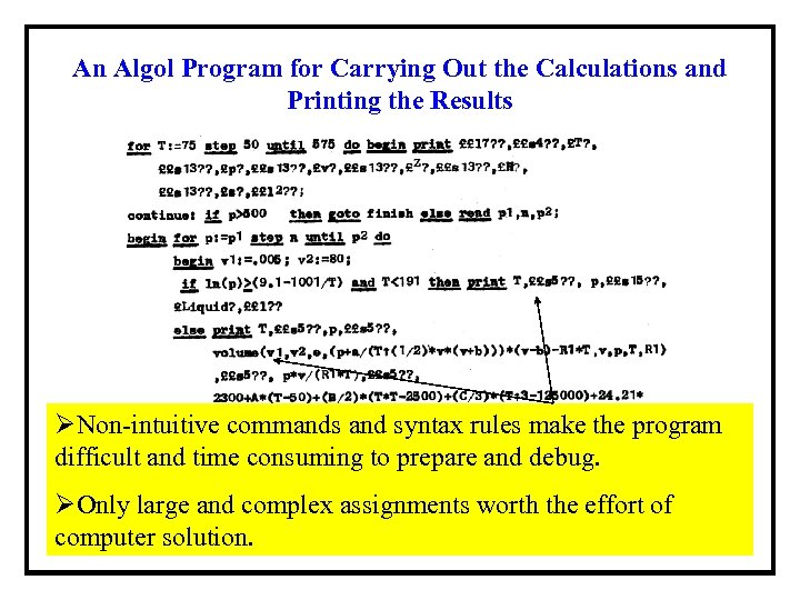 An Algol Program for Carrying Out the Calculations and Printing the Results ØNon-intuitive commands
