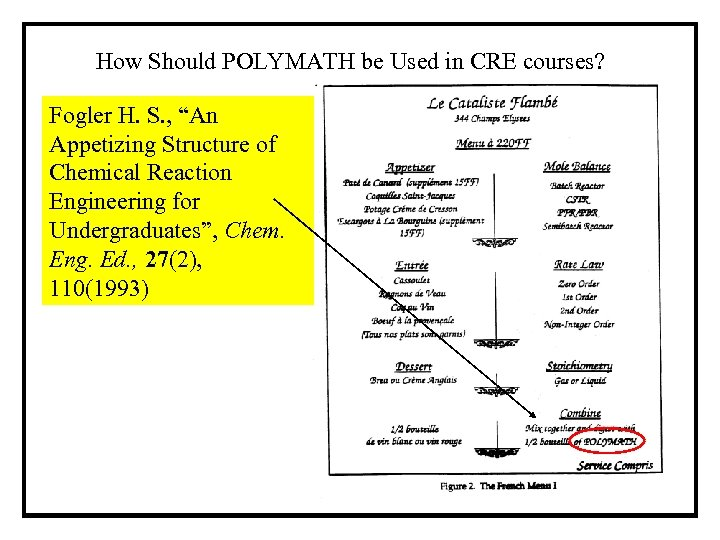 "How Should POLYMATH be Used in CRE courses? Fogler H. S. , ""An Appetizing"