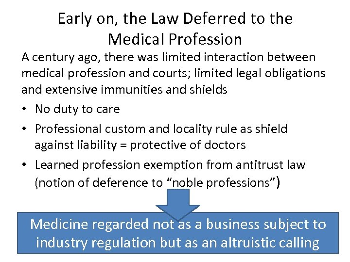 Early on, the Law Deferred to the Medical Profession A century ago, there was