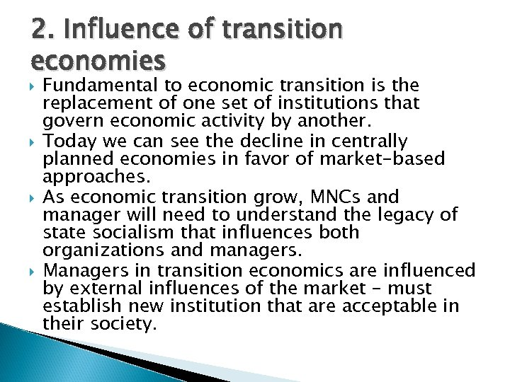 do some research on cuba and describe a scenario for economic transition in the event that the curre Q2: do some research on cuba, and describe a scenario for economic transition in the event that the current regime collapses how do you think transition to a market economy in cuba would differ from the experiences of russia and china.
