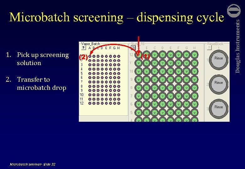1. Pick up screening solution 2. Transfer to microbatch drop Microbatch seminar- slide 32