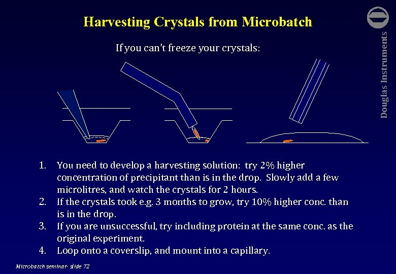 If you can't freeze your crystals: 1. You need to develop a harvesting solution: