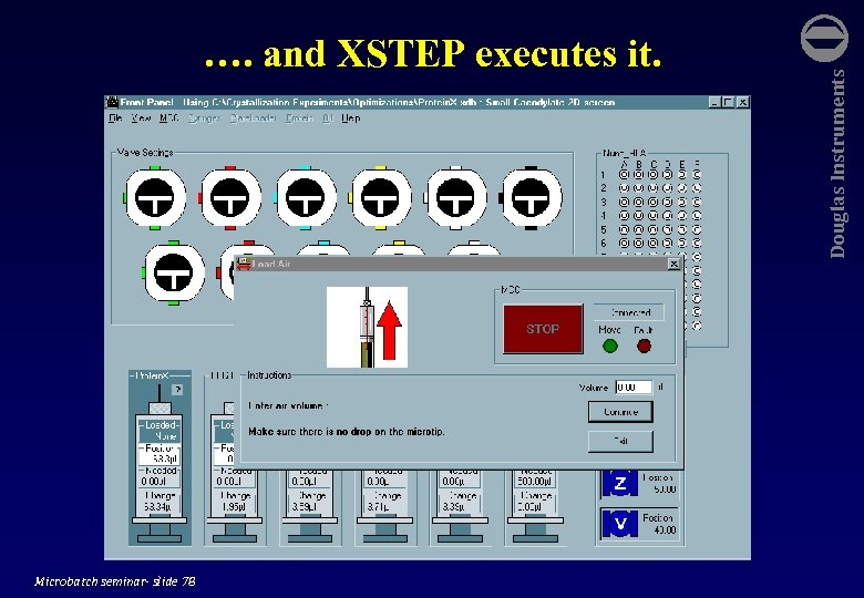 Microbatch seminar- slide 78 Douglas Instruments …. and XSTEP executes it.
