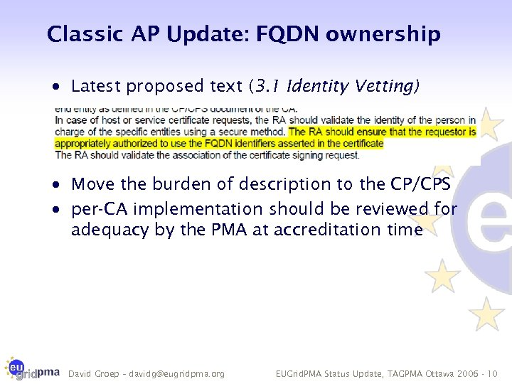 Classic AP Update: FQDN ownership · Latest proposed text (3. 1 Identity Vetting) ·