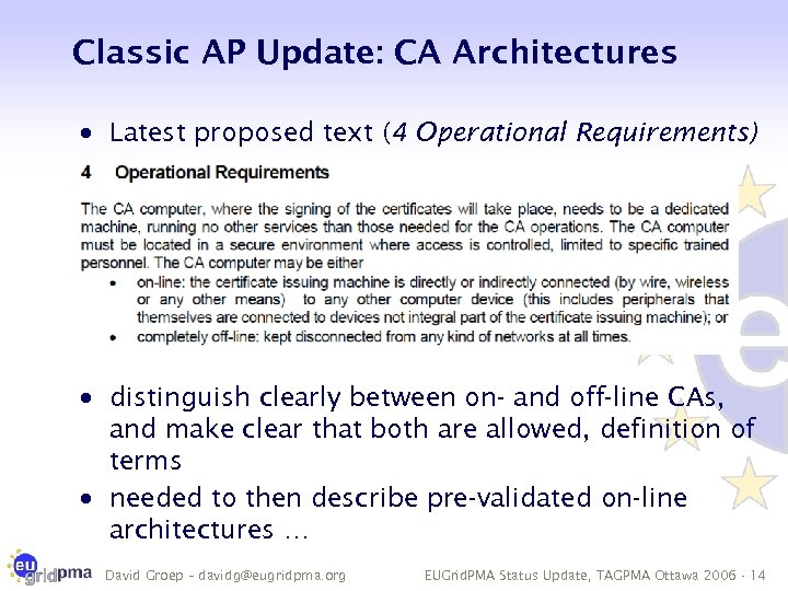 Classic AP Update: CA Architectures · Latest proposed text (4 Operational Requirements) · distinguish