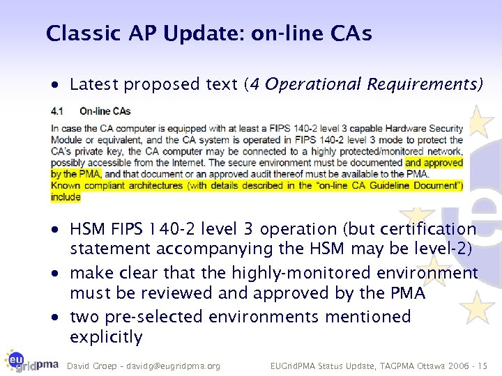 Classic AP Update: on-line CAs · Latest proposed text (4 Operational Requirements) · HSM