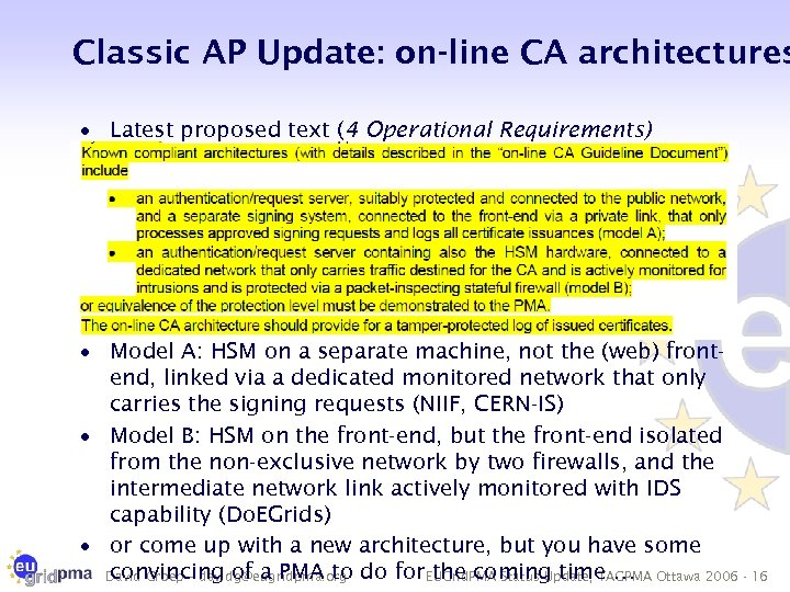 Classic AP Update: on-line CA architectures · Latest proposed text (4 Operational Requirements) ·