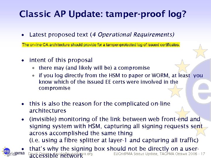 Classic AP Update: tamper-proof log? · Latest proposed text (4 Operational Requirements) · intent