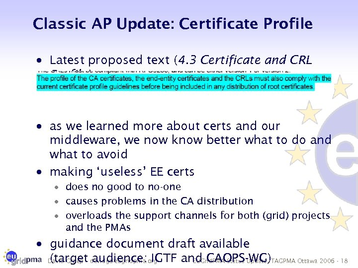 Classic AP Update: Certificate Profile · Latest proposed text (4. 3 Certificate and CRL