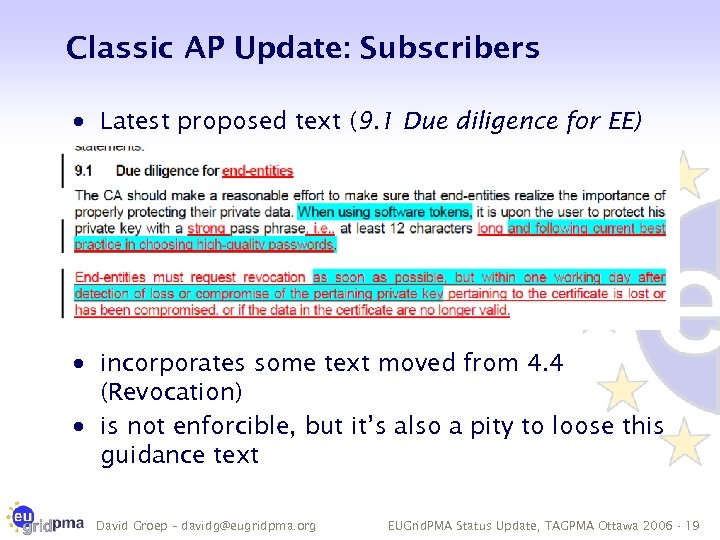 Classic AP Update: Subscribers · Latest proposed text (9. 1 Due diligence for EE)
