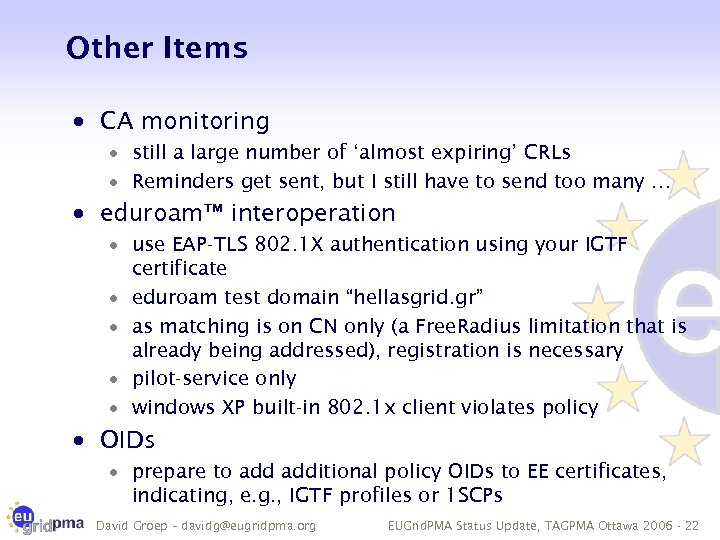 Other Items · CA monitoring · still a large number of 'almost expiring' CRLs