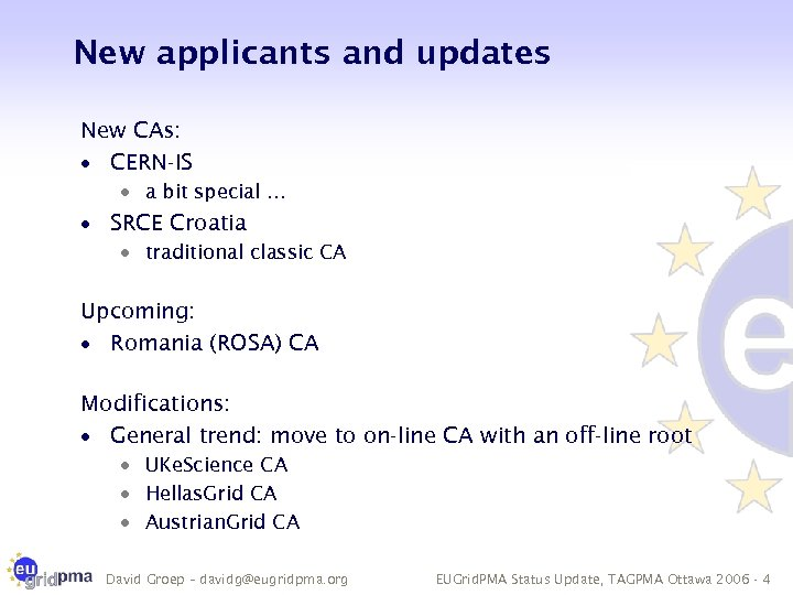 New applicants and updates New CAs: · CERN-IS · a bit special … ·
