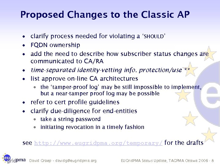 Proposed Changes to the Classic AP · clarify process needed for violating a 'SHOULD'