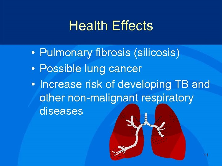 Health Effects • Pulmonary fibrosis (silicosis) • Possible lung cancer • Increase risk of