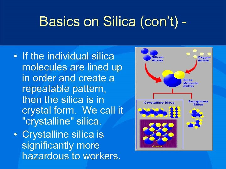Basics on Silica (con't) • If the individual silica molecules are lined up in