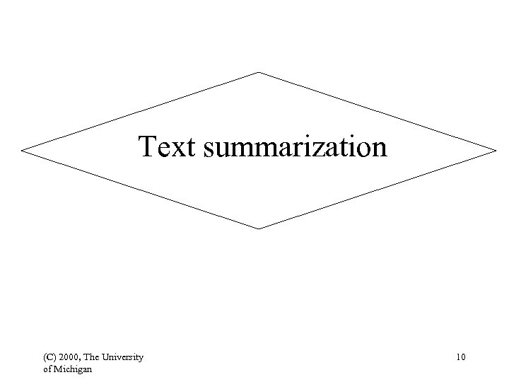 Text summarization (C) 2000, The University of Michigan 10