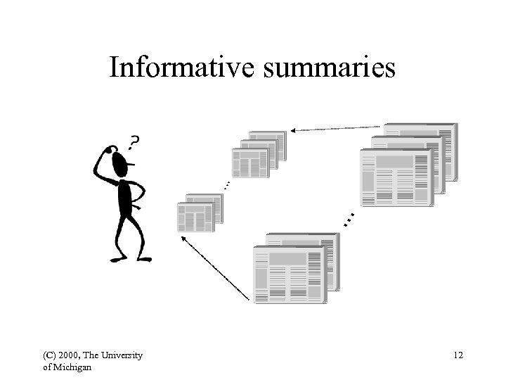. . . Informative summaries (C) 2000, The University of Michigan 12