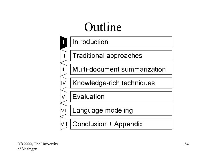 Outline I II Traditional approaches III Multi-document summarization IV Knowledge-rich techniques V Evaluation VI