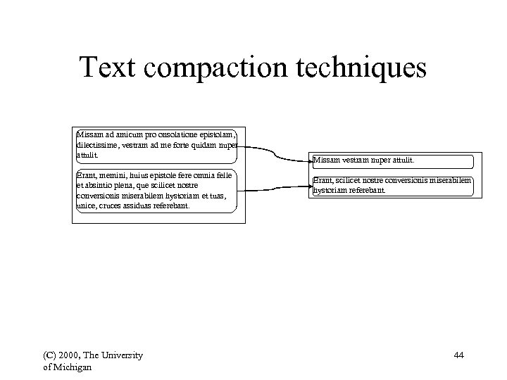 Text compaction techniques Missam ad amicum pro onsolatione epistolam, dilectissime, vestram ad me forte