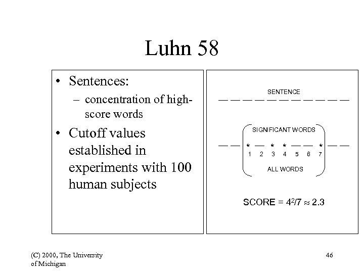 Luhn 58 • Sentences: SENTENCE – concentration of highscore words • Cutoff values established