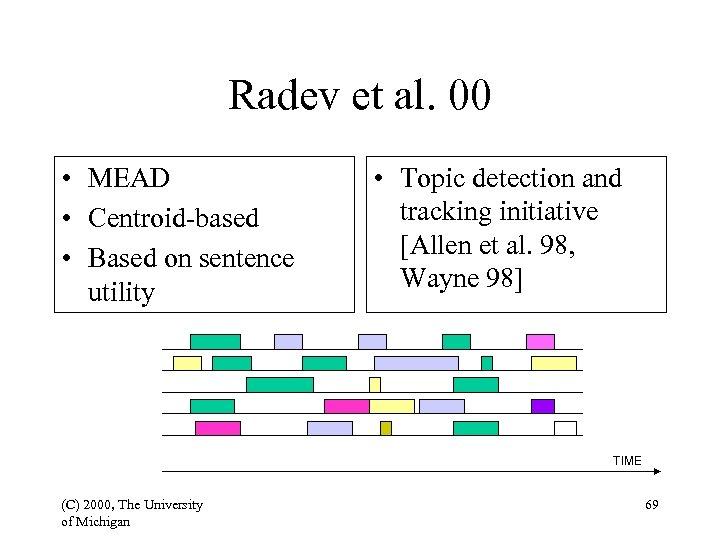 Radev et al. 00 • MEAD • Centroid-based • Based on sentence utility •