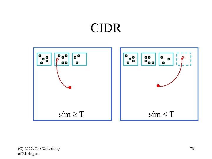 CIDR sim T (C) 2000, The University of Michigan sim < T 73