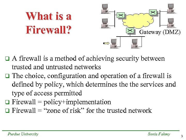 What is a Firewall? Gateway (DMZ) A firewall is a method of achieving security