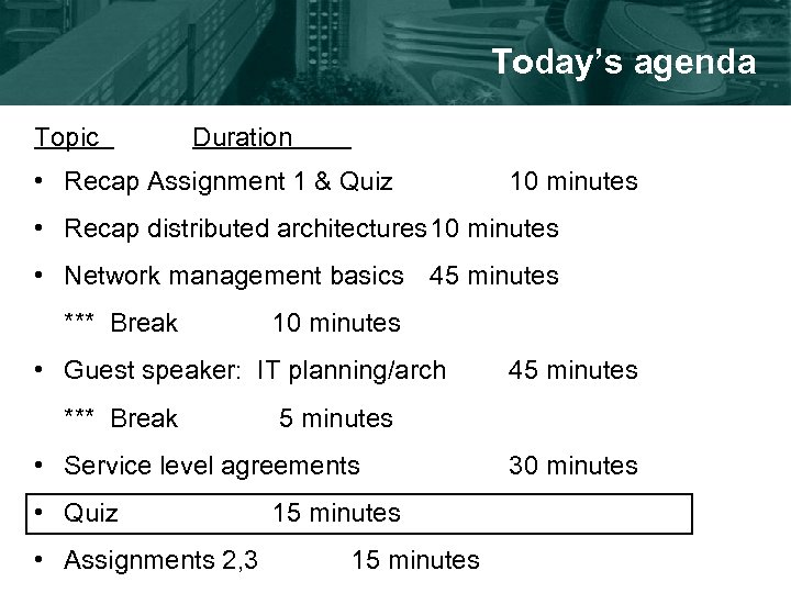 Today's agenda Topic Duration • Recap Assignment 1 & Quiz 10 minutes • Recap
