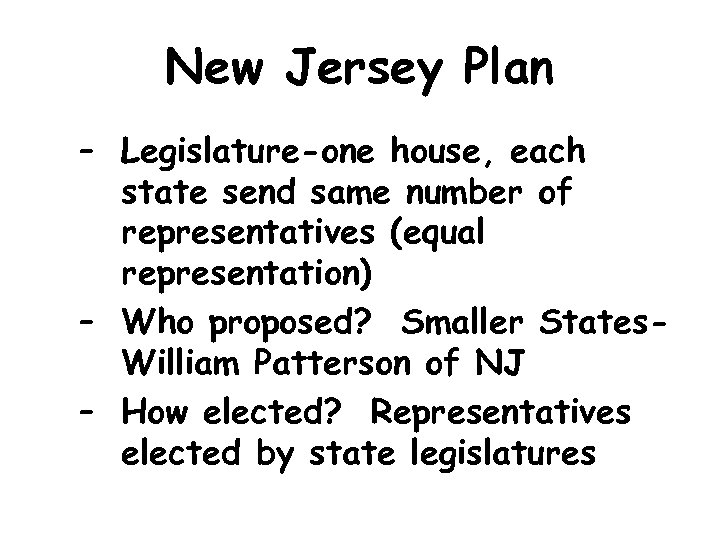New Jersey Plan – Legislature-one house, each state send same number of representatives (equal