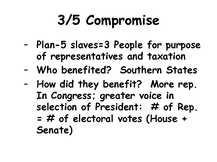 3/5 Compromise – Plan-5 slaves=3 People for purpose of representatives and taxation – Who