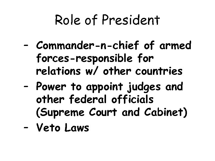 Role of President – Commander-n-chief of armed forces-responsible for relations w/ other countries –