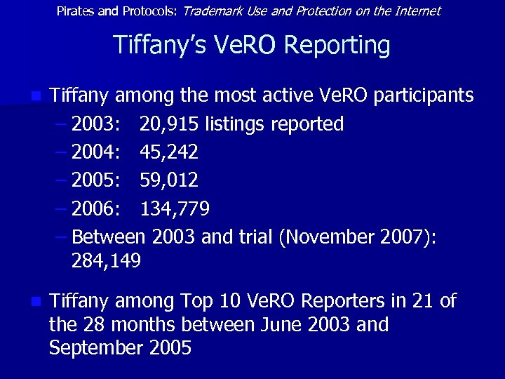Pirates and Protocols: Trademark Use and Protection on the Internet Tiffany's Ve. RO Reporting