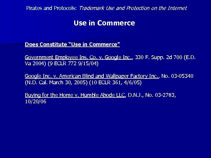 Pirates and Protocols: Trademark Use and Protection on the Internet Use in Commerce Does