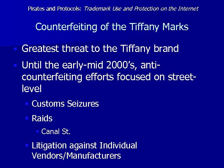 Pirates and Protocols: Trademark Use and Protection on the Internet Counterfeiting of the Tiffany