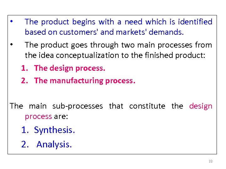 The product begins with a need which is identified based on customers' and markets'