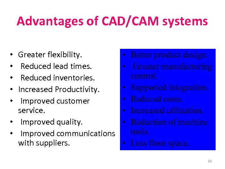 Advantages of CAD/CAM systems Greater flexibility. Reduced lead times. Reduced inventories. Increased Productivity. Improved